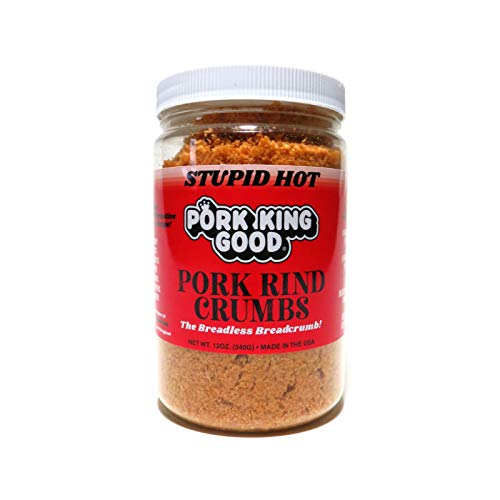 Pork King Good Stupid Hot Spicy Pork Rind Breadcrumbs (Low Carb Keto Diet)! Perfect For Ketogenic, Paleo, Gluten-Free, Sugar Free and Bariatric Diets. 0 Carbs! 1