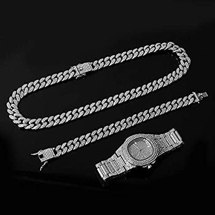 ISMILE Collar De Color Plateado + Reloj + Pulsera Cadena De Bordillo De Hip Hop con Diamantes De Imitación Pavimentados Cz para Joyería De Hombre