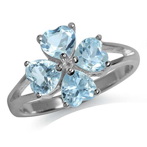 2.44ct. Genuine Heart Shape Blue Topaz 925 Sterling Silver Clover Ring Size 5 (Cluster Sterling Ring Silver Five)