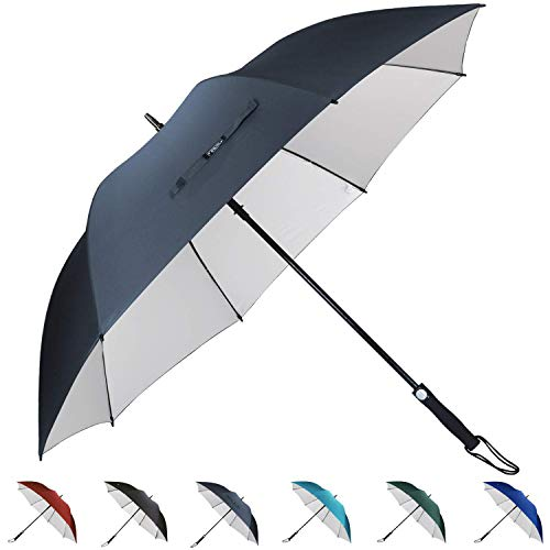 G4Free 62 Inch UV Golf Umbrella Sun Protection Large Oversize Windproof Waterproof Automatic Open Stick Umbrellas (Navy Blue) (Best Golf Umbrella For Sun Protection)