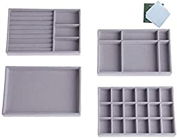 Jewellery Drawer Organiser, Stackable Jewelry Storage Tray, Set of 4 Jewelry Divider Showcase Display Box, Grey
