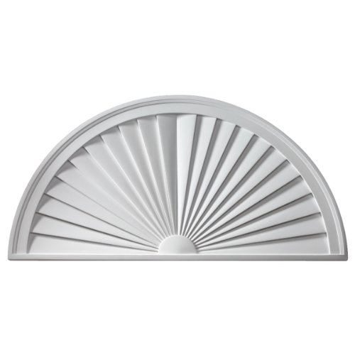 "Fypon SWDH68X34 68""W x 34""H x 1 3/4""P, Half Round Sunburst Window Pediment"