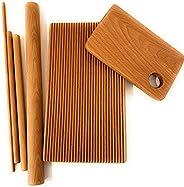 Pasta board set, 6 piece, macaroni, trofie, garganelli, beech wood, handmade