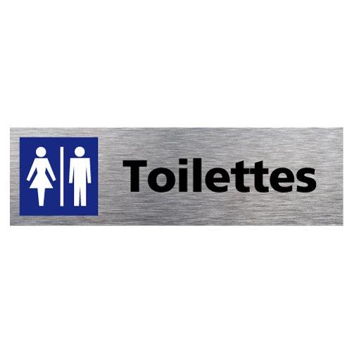 Plaque de porte Toilettes Homme Femme en Aluminium Brossé Inoxydable - Pictogramme Toilettes Homme Femme Porte Rectangle Dimensions 170 x 50 mm - Double face autocollant adhésif au dos - Toilettes Homme Femme Signalétique.biz France Q0126