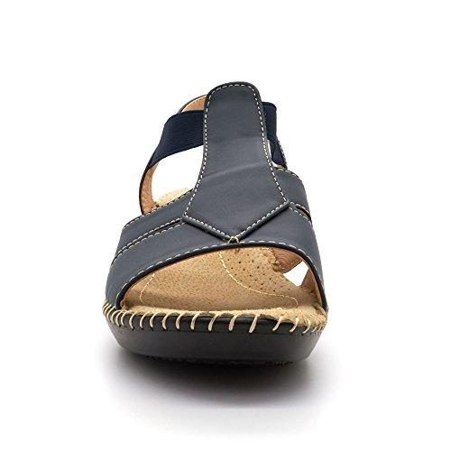 Nueva mujer baja cuña correa de tobillo sandalias Toe comodidad señoras verano playa Reino Unido tamaño 3–