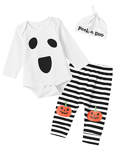 Pumpkin Costume For Toddler Boy (Shalofer Baby Girls Boys Halloween Ghost Costume Outfits Toddler Funny Pumpkin Pants Set (White,12-18)