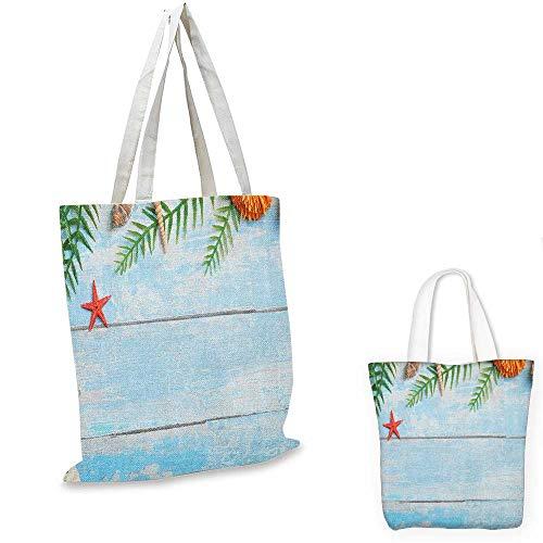 (Seashells portable shopping bag Star Fish Seashell Tropic Plants Leaves Seaweed Nautical Boat Marine shopping bag for women Pale Blue Green Amber. 13
