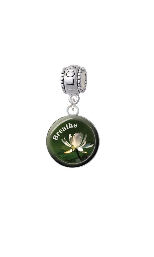 Silvertone Domed Breathe with Lotus - I Love You Charm Bead by Delight Jewelry (Image #3)
