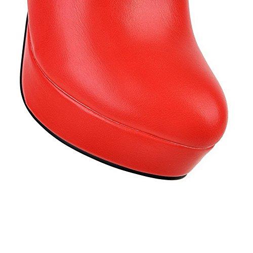 VogueZone009 Damen Niedrig-Spitze Rund Zehe Hoher Absatz Stiefel mit Metall Schnalle Rot