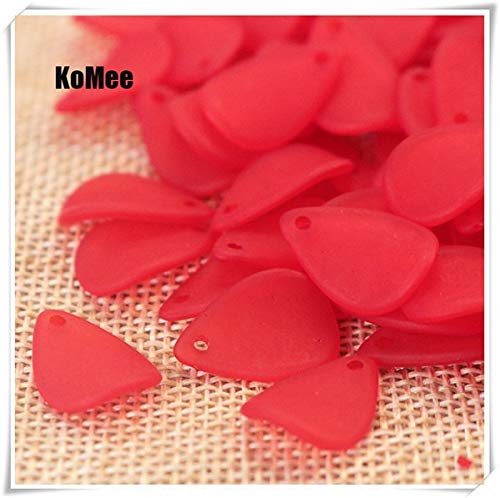 (Pukido 1217mm 500pcs Frosted White Lucite Flower Petal Beads FIT for Jewelry DIY - (Color: Red))