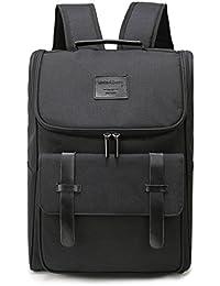 Lightweight Genuine Leather Travel Backpack Rucksack School Bag Backpacks Fits 15.6 inch Laptop Black