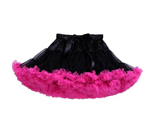 PerfectDay Girl's Dress Up Fairy Princess Party Tutu Skirts Black and Fuschia (Competition Dance Costume For Sale)