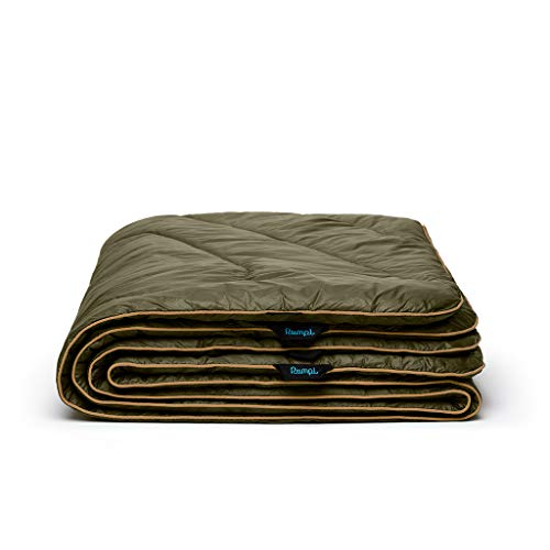 Rumpl The Original Puffy   Outdoor Down Camping Blanket for Traveling, Picnics, Beach Trips, Concerts   Burnt Olive/Cardiff Brown, Throw