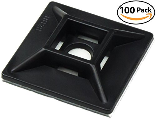 Zip Tie Adhesive-Backed Mounts 100 Pack by Nova Supply. Professional-Grade, UV Black Cable Tie Bases: 1.1 x 1.1. Screw-Hole Anchor Point Provides Optimal Strength for Long-Term Durability & Use