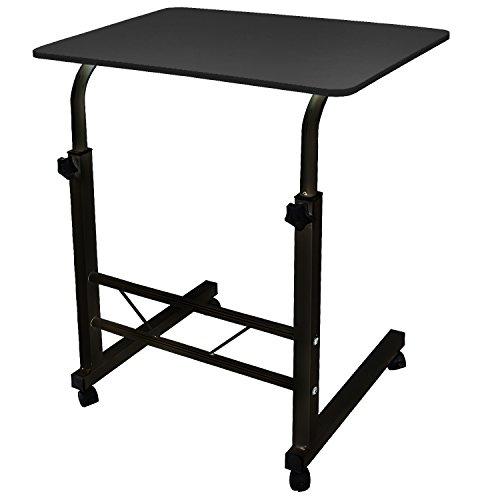 DL furniture - Adjustable Height Laptop Desktop Table Stand, Over Bed Side Table With Wheels | Metal Frame & Natural Surface (Black)