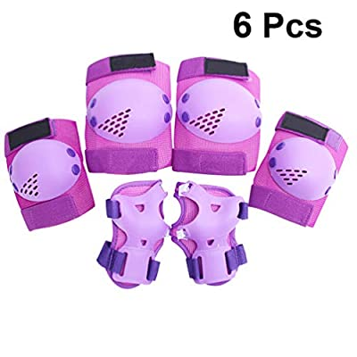 Toyvian 6pcs Cycling Skateboard Knee Elbow Protective Pads Kids Outdoor Sports Protector for Biking ,Purple : Sports & Outdoors