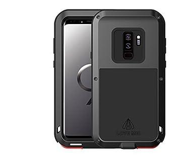 love Mei Funda para Samsung Galaxy S9 Plus, Marca Armor Tank Aluminum Silicone Metal híbrido Carcasa,Cover, Funda para Samsung Galaxy S9 + (Negro)