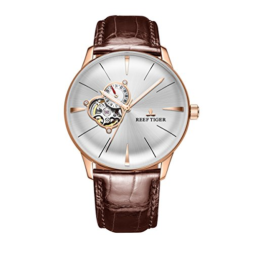 Reef Tiger Luxury Automatic Watches for Men Genuine Leather Strap Rose Gold Convex Lens Watches (RGA8239-PWS)