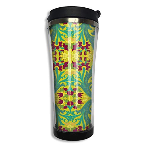 TEIDHJJ Art Nouveau Anti-scalding Coffee Cup 420ml, Personalized Custom Travel Coffee Cup, Sports Cup Good for Insulation and Keep Ice,304 Stainless Steel
