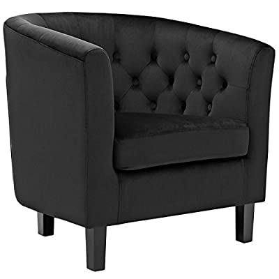 Modway Prospect Upholstered Velvet Contemporary Modern Accent Arm Chair in Black - CONTEMPORARY STYLE - Boasting a tailored profile and chic style, Prospect embodies luxurious intrigue and sophistication. Prospect reinvents the iconic chesterfield style with contemporary allure FINE UPHOLSTERY - Upholstered in stain-resistant perfomrance velvet Prospect's inset buttons create a diamond-tufted design. Energizing décors, this collection is ideal for small spaces or loft living MODERN LOUNGE SPOT - A cherished round back upholstered armchair for any modern lounge space, Prospect provides a comfortable place to rest while relaxing or reading a bedtime story in the kid's room - living-room-furniture, living-room, accent-chairs - 41TpRXf4ouL. SS400  -