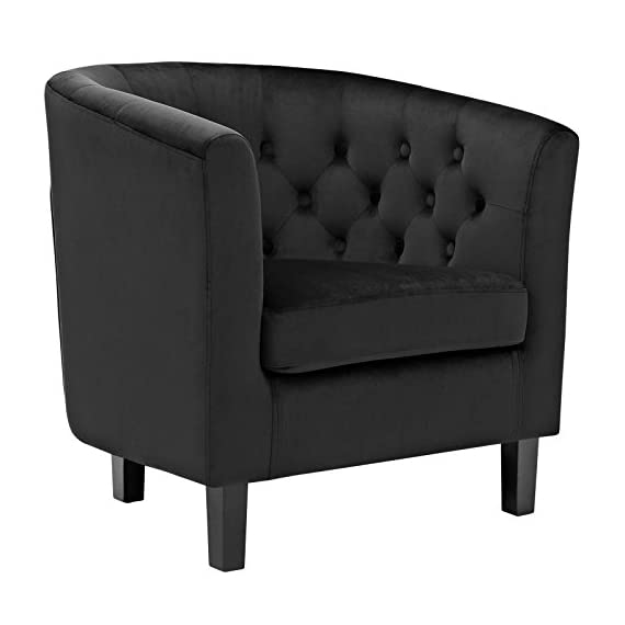 Modway Prospect Upholstered Velvet Contemporary Modern Accent Arm Chair in Black - CONTEMPORARY STYLE - Boasting a tailored profile and chic style, Prospect embodies luxurious intrigue and sophistication. Prospect reinvents the iconic chesterfield style with contemporary allure FINE UPHOLSTERY - Upholstered in stain-resistant velvet polyester Prospect's inset buttons create a diamond-tufted design. Energizing décors, this collection is ideal for small spaces or loft living MODERN LOUNGE SPOT - A cherished round back upholstered armchair for any modern lounge space, Prospect provides a comfortable place to rest while relaxing or reading a bedtime story in the kid's room - living-room-furniture, living-room, accent-chairs - 41TpRXf4ouL. SS570  -