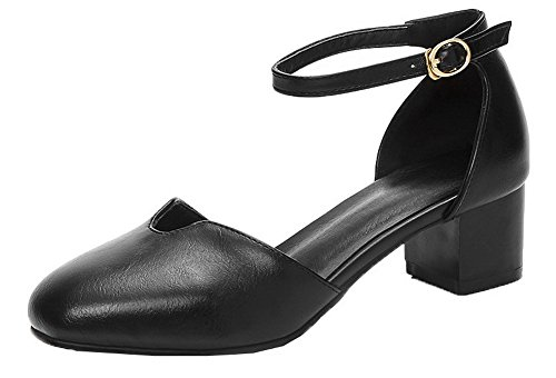 Correct à Boucle Femme Cuir Fermeture PU AgooLar Sandales Noir Talon d'orteil pZwYFnqI