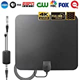 TV Antenna for Digital TV Indoor,Newest 2018 Signal Booster,60-80 Mile Range,HD and Less Impurities,Support 4K 1080p,HD VHF UHF Free View Television Local Channels,16.5ft Coax Cable/Power Adapter