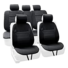 FH Group FB201BLACK115 Black High Quality Car Seat Cushion Pad (Complete Set)