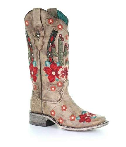Corral Women's Cactus Floral Embroidery Overlay Western Boot Narrow Square Toe Taupe 7 M by Corral Boots