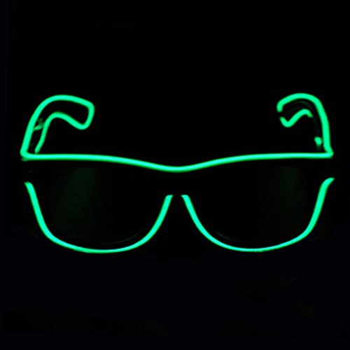 [Aquat Light-up Illuminated Neon Electroluminescent EL Wire LED Glasses Light Shutter Frame Costumes Eyeglasses RB01 (Green, Black] (Tights Costumes Accessory)