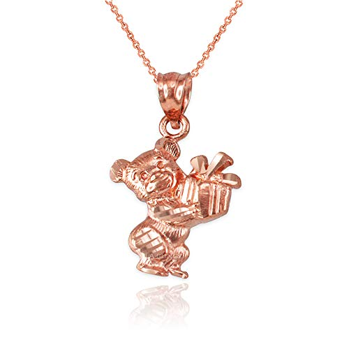 LA BLINGZ 14K Rose Gold Cute Teddy Bear Gift Box DC Charm Necklace (22)