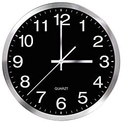SIN&MI Wall Clock 12inch Metal Frame Glass Cover Non-Ticking Number Quartz Clock Modern Quartz Design Decorative Indoor/Kitchen Black