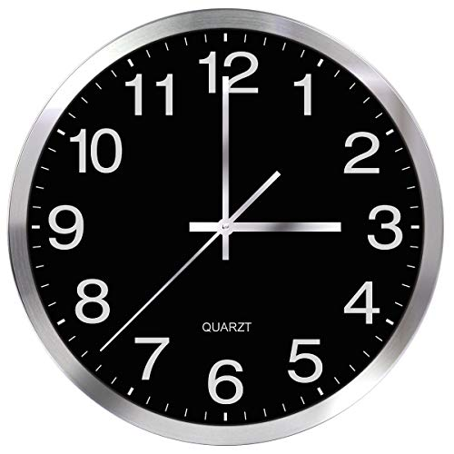 (SIN&MI Wall Clock Metal Frame Glass Cover Non-Ticking Number Quartz Wall Clock 12inch Modern Quartz Design Decorative Indoor/Kitchen Black)