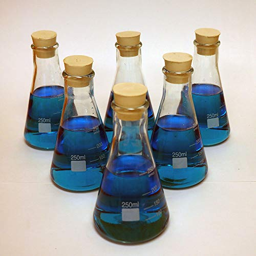 LabStock 250ml Erlenmeyer Flask, Glass with Rubber Stoppers, Pack of 6