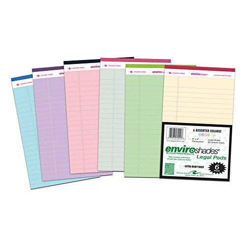 Roaring Spring Enviroshades 5x8 Assorted Legal Pad 6/Pack ()