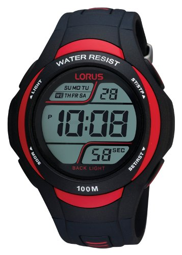 Lorus Sport - Reloj de Cuarzo para Hombre, con Correa de Goma, Color Negro