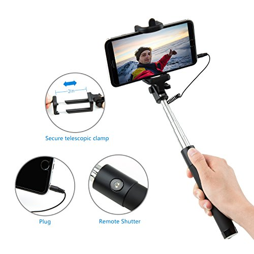 selfie stick carloue battery free wired selfie stick for import it all. Black Bedroom Furniture Sets. Home Design Ideas