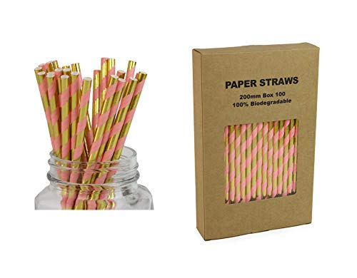 Pink and Gold Striped Drinking Straws - Box of 100, Metallic Paper Sticks for Cake Pops, Shiny Party Themed Decoration