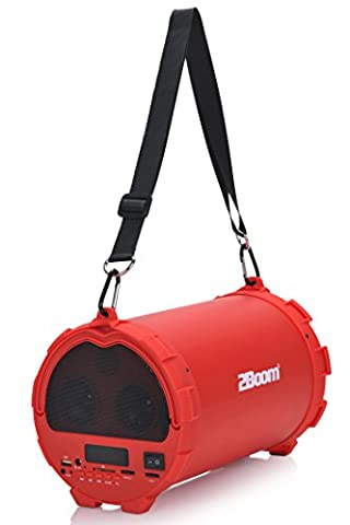 2BOOM Bass King Wireless Bluetooth Portable Outdoor Speaker with FM Radio LED Display - Red (Earthquake Shallow Subwoofer)