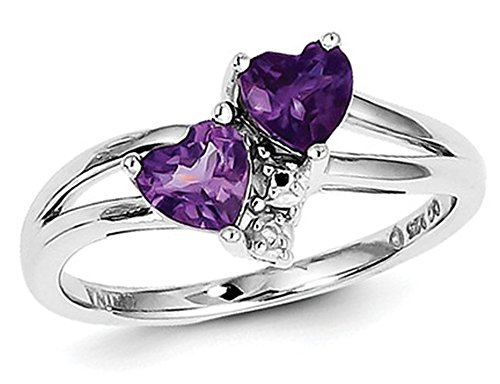 Amethyst Double Heart Ring 4/5 Carat (ctw) in Sterling -