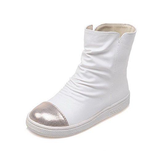 Allhqfashion Donna Materiale Morbido Tondo A Punta Chiusa Tacco Basso Su Stivali Di Colore Assortiti Bianco