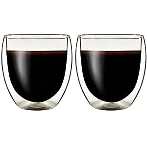 Double Wall Thermo Insulated Glass Espresso Cups Set of 2, Glasses Cups for Coffee,Latte,Lungo,or Americano,Milano,250ml 8.5 Ounce