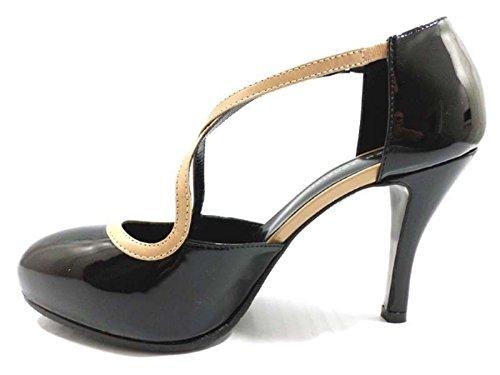 Chaussures Femme GUIDO SGARIGLIA 37,5 EU Escarpins Noir beige cuir verni AY111