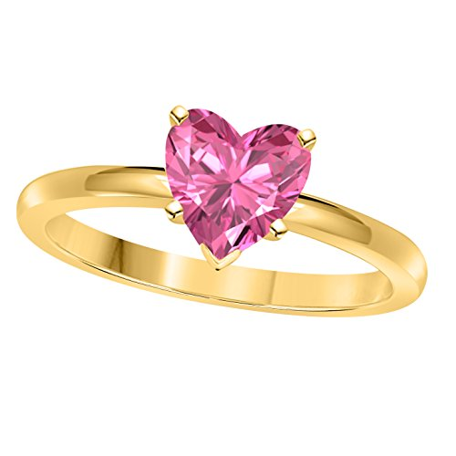 Gold Pink Sapphire Solitaire (Valentine day Special 1.00CT Heart Shape Lab Created Pink Sapphire Solitaire Engagement Ring in 14K Yellow Gold Finish Alloy)