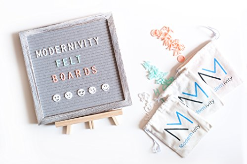 - Modernivity Grey Felt Letter Board: Rustic Wooden Framed Changeable Word and Announcement Sign with Stand and Wall Mount - 1,005 Multi Colored Plastic Letters, Characters, Numbers and Emojis - 10 x 10