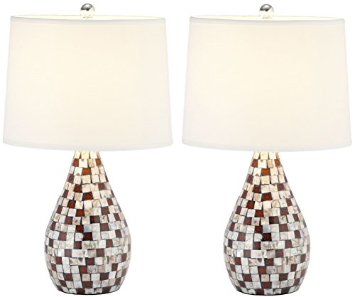 - Safavieh Lighting Collection Lauralie Brown Capiz Shell 19.25-inch Table Lamp (Set of 2)