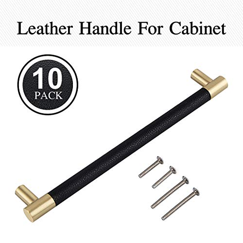 Bar Cabinet Handle Knob Pull Brushed Satin Gold/Brass Finish with Upholstered Black Leather 8.5