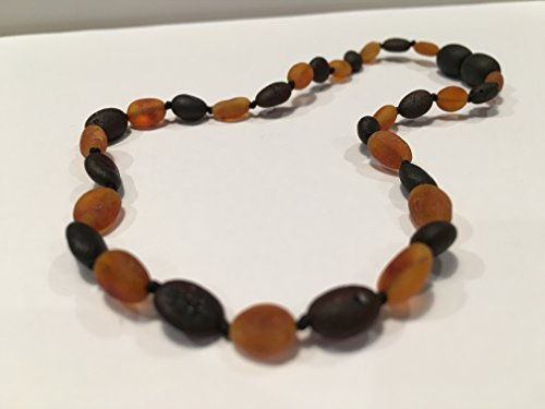 11 Inch Raw Black Cherry Cognac Carmel Honey Brown Bean Olive Baltic Amber Teething Necklace for Infant, Baby Drooling & Teething Pain, Growing pains Certified Screw Clasp by Baltic Essentials