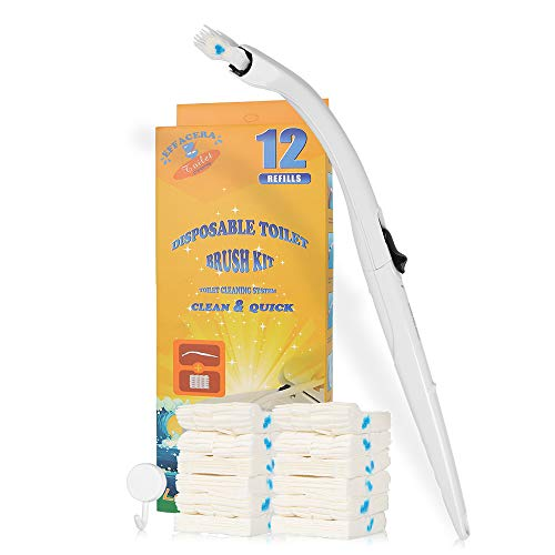 Effacera Disposable Toilet Cleaning System,Disposable Toilet brush with 12 Count Flushable Refills ... (Best Disposable Toilet Bowl Brush)