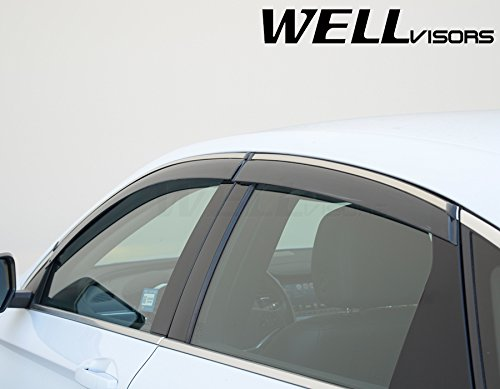 WellVisors Side Window Wind Deflector Rain Guards Visors For Chevrolet Chevy Impala 14-Up 2014 2015 2016 2017 2018 With Chrome Trim
